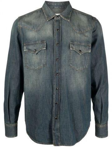 Blue denim Western shirt