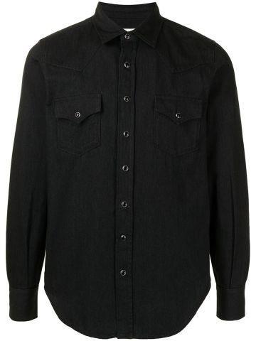 Black denim Western shirt with pointed collar