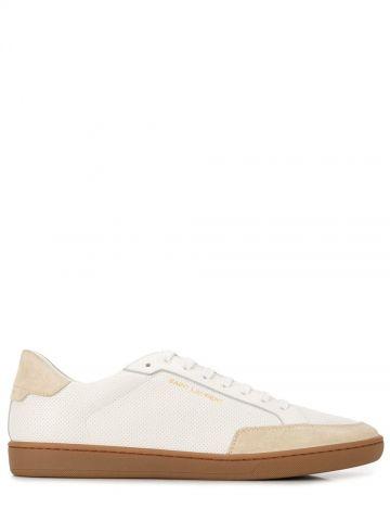 Sneakers Court classic SL 10 in pelle traforata bianca e camoscio