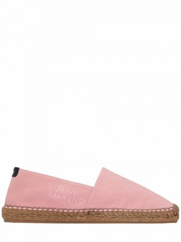 Saint Laurent embroidered espadrilles in pink canvas