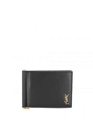 Tiny Monogram bill clip wallet in shiny black leather