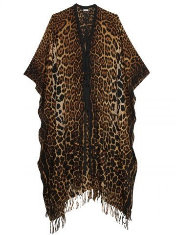 Leopard print fringed wool canvas poncho
