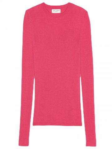 Pink ribbed crewneck sweater in cashmere, wool and silk