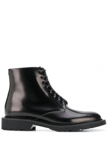 Black Army laced boots in shiny leather