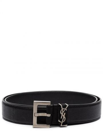 Cintura monogram in pelle nera