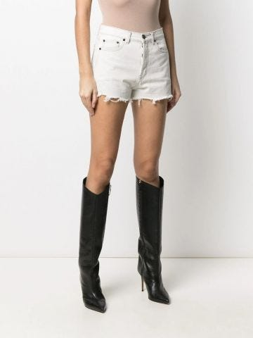 White raw-edge shorts in denim