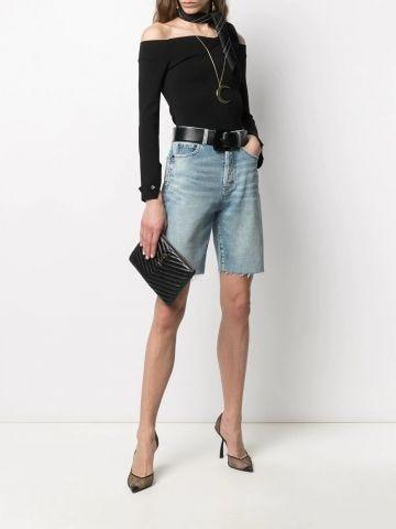 Blue high-waist, raw-edge denim shorts