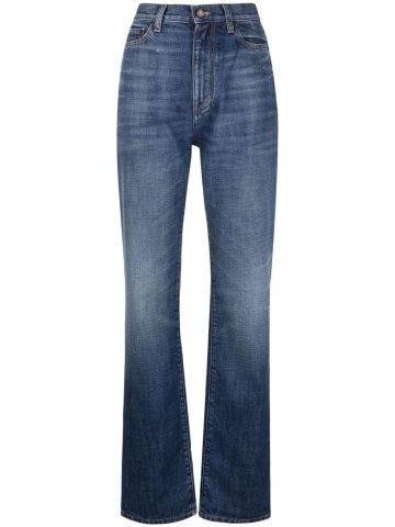 Blue high-waisted straight jeans