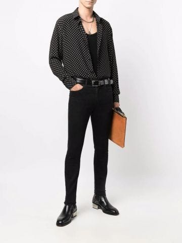 Black silk polka dot shirt