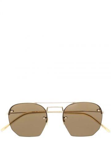 Brown rimless Aviator sunglasses SL422