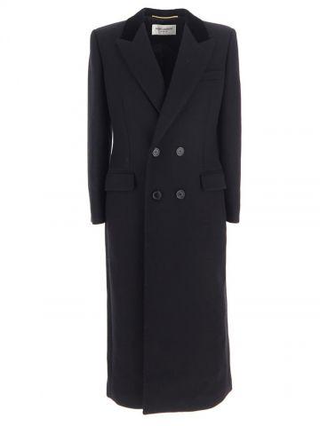 Cappotto lungo doppiopetto nero in gabardine