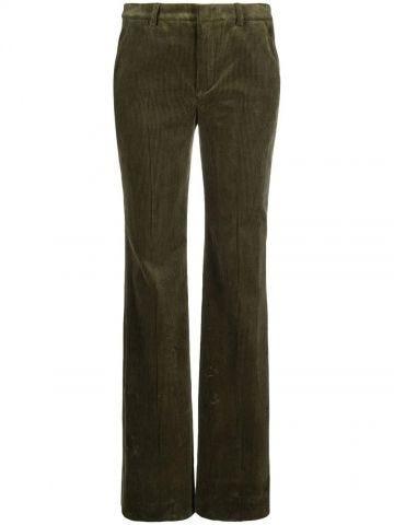 Green flared ribbed pants