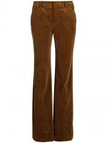 Brown straight-leg corduroy trousers