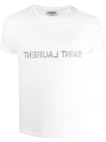 White T-shirt with logo reverse print