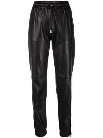 Black leather sport pants