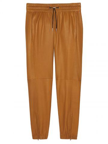 Beige leather sport pants