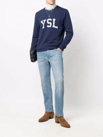 Blue YSL logo print sweatshirt