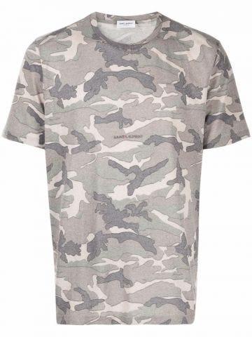 Grey camouflage print T-shirt