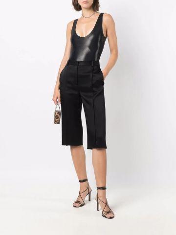 Black metallic sleeveless bodysuit