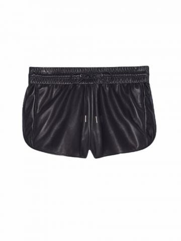 Boxing shorts in black lambskin
