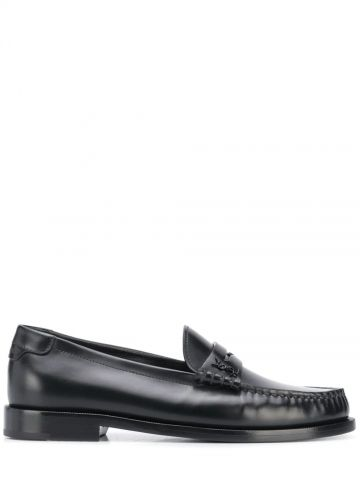 Black le loafer monogram penny slippers in smooth leather