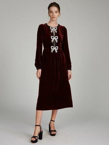 Camille Bows appliquéd velvet midi dress