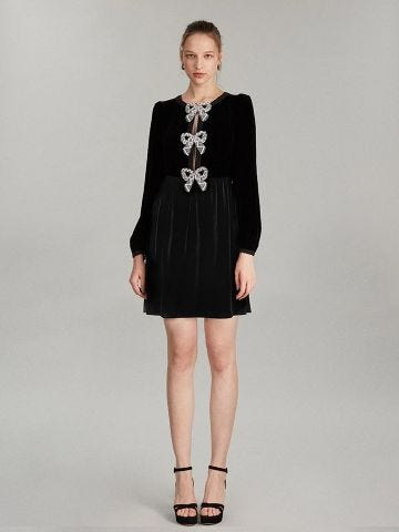 Camille Bows Mini Dress In Black With Bows