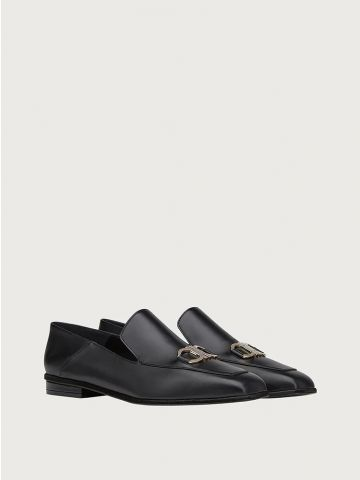 Black loafers with hooks