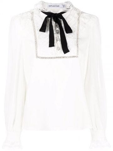 White ruffle-trim pussy-bow blouse