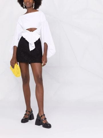 Black metallic-threading mini skirt