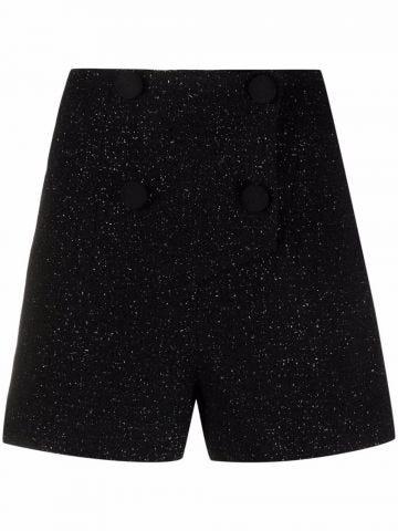 Black high-waisted metallic shorts