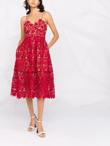 Red floral-lace spaghetti-strap dress