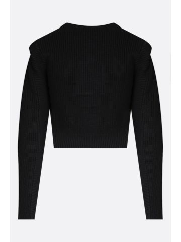 Cropped black cardigan with contrasting lace collar