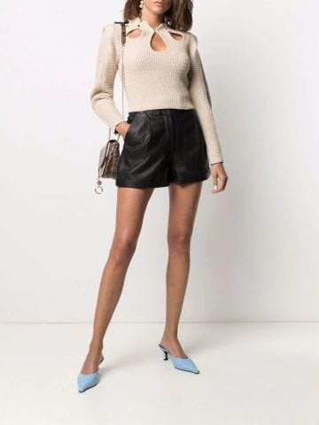 Beige cut-out detail knitted sweater