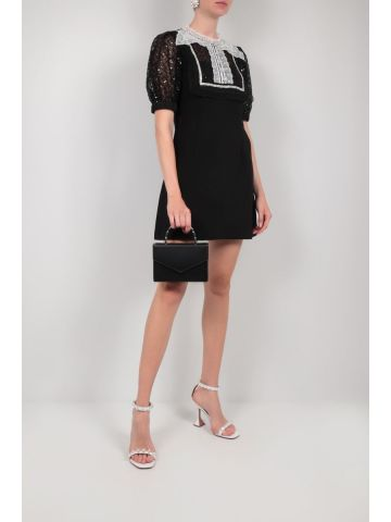 Black minidress in crepe with sequins