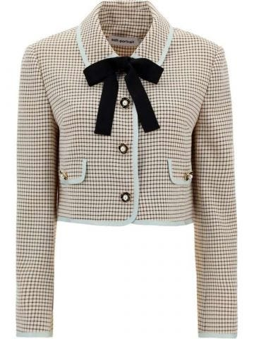 Beige check pattern cropped jacket