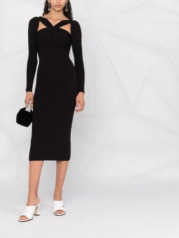 Black cut-out detail midi fitted dress