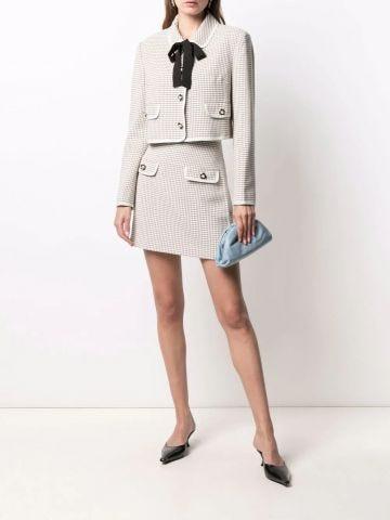 Beige check-print A-line skirt