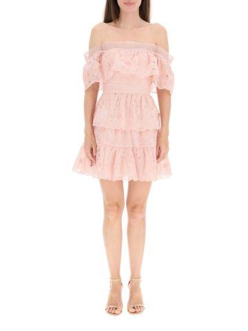 Blush pink 3D flower mini dress