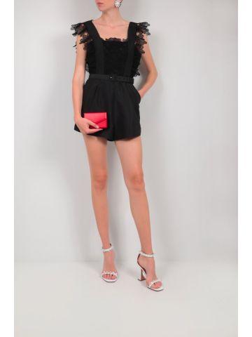 Black taffeta jumpsuit with floral lace details