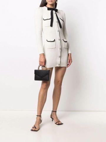 White lurex knit mini dress