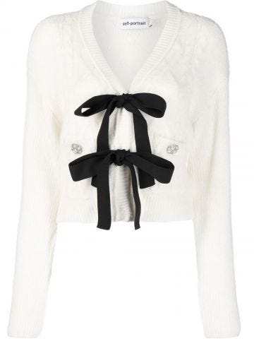 White bow-detail knitted cardigan