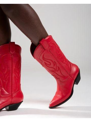 Red Santa Fe Cowboy Boots in Calfskin
