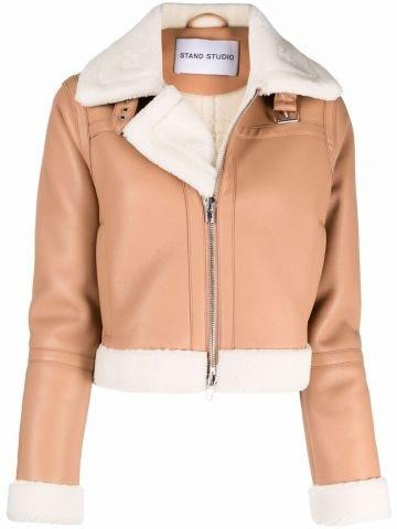 Stand beige crop biker jacket