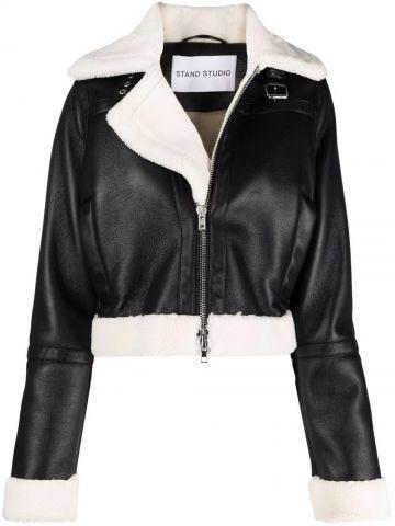 Black crop biker jacket