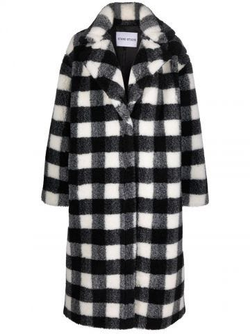 Maria checked fur coat