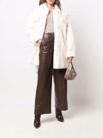 White Sabi fleece shirt coat
