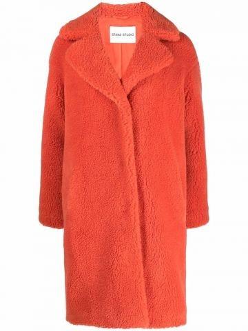 Orange Camille faux-shearling coat