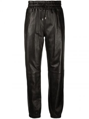Black drawstring biker trousers