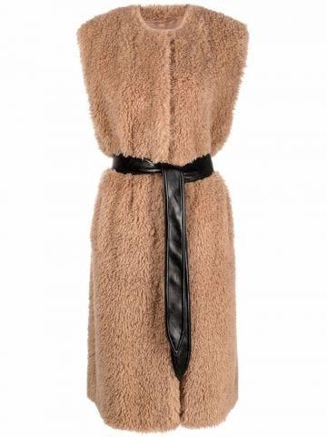 Brown Denise faux-shearling vest coat